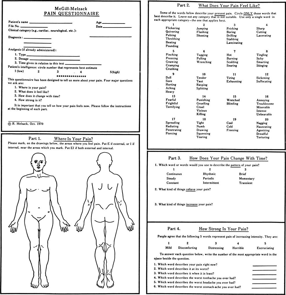 Short Form Mcgill Pain Questionaire Pictures to Pin on